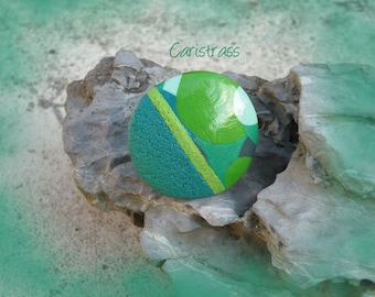 Green round polymer clay ring