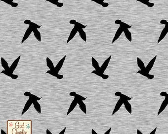 Bird Silhouette on Heather Grey Cotton Jersey Blend Knit Fabric **UK Seller**