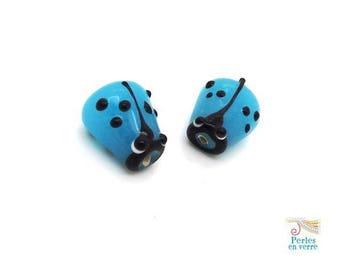 Blue: 2 beads Ladybug glass lampwork, 12x14mm (pv654)