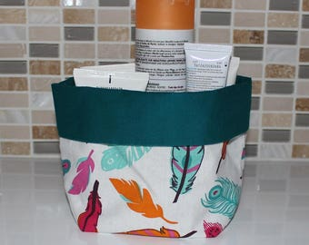 Bathroom basket - feathers - reversible - machine washable