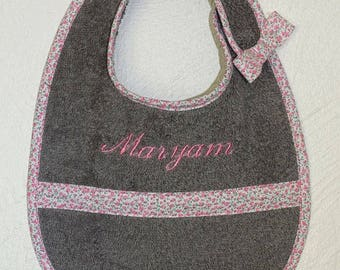 Set of 3 bibs with Velcro - gray - pink - girl