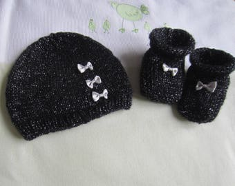 """Set hat and booties """"birth"""" black glitter"""