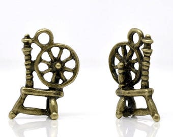 set of 2 charms spinning wheel 18 x 12 mm bronze