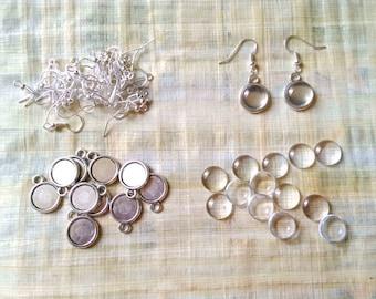 12 mm / 10 blank silver pendant + 20 cabochons 12 mm + 10 hooks Earrings