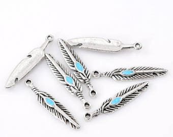 5 28x5mm Turquoise feather charms