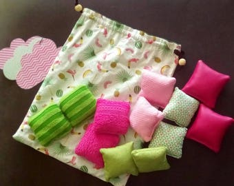 set of 12 sensory pillow green and pink