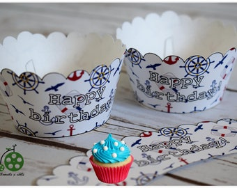 Nautical Theme Cupcake Wrappers, Scalloped Birthday party wrappers, Printable PDF File, INSTANT DOWNLOAD
