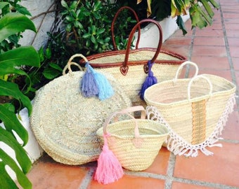 ESME- Round Moroccan Straw Basket - Ibiza French Market Shopper- Beach Bag- Leather Handle- Handmade Wool Tassel - Bohemian Hippie Style -