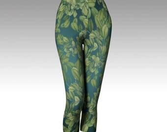 Vintage Leaves  Capri Leggings and Yoga Capri Leggings