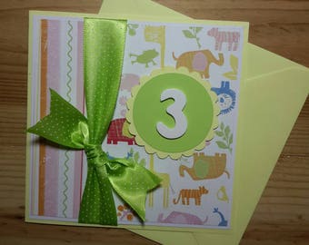 Birthday card for child (boy or girl) yellow and green