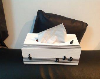 Music... Black and white tissue box
