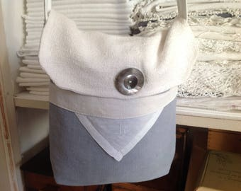 Shoulder bag made from old linen, Monogram M