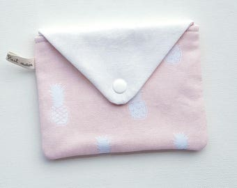 Versatile cotton snap closure flap pouch.