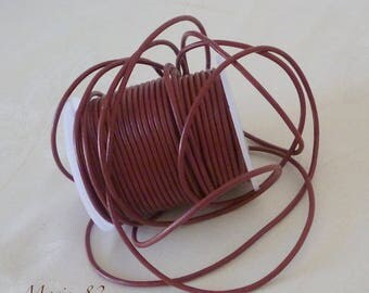 1 meter - leather cord 2 mm - Burgundy