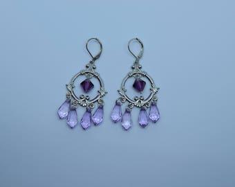 Purple Briolette and bicone crystal chandelier earrings
