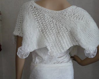 scarf knit shawl handmade Calais lace flowers.