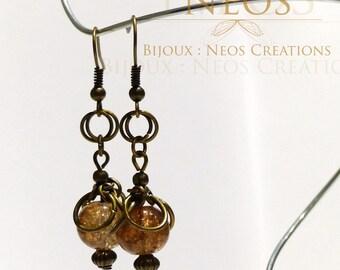 Sand beads and mesh earrings