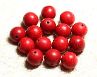 10pc - synthetic Turquoise beads 12mm red 4558550028792 balls