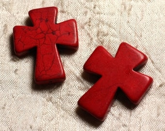 2PC - beads Turquoise synthetic Cross Red 4558550011800 35x30mm