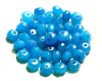Stone - Jade blue Turquoise faceted Rondelle 8x5mm 4558550008985 beads 10pc-