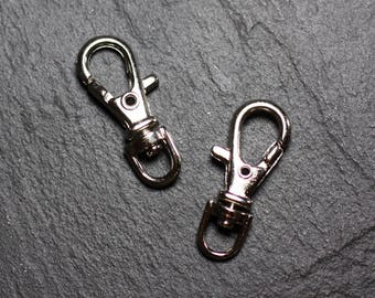 50pc - carabiner Keychain, silver plated Rhodium 37mm 4558550030306