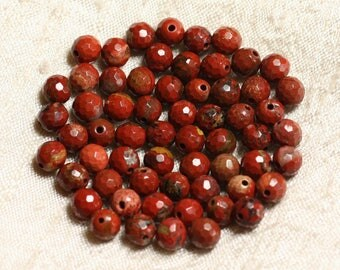 10pc - stone beads - red Jasper 6mm 4558550003614 faceted balls