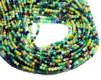 50pc - beads - Jade 2mm multicolor yellow blue green balls - 8741140008045