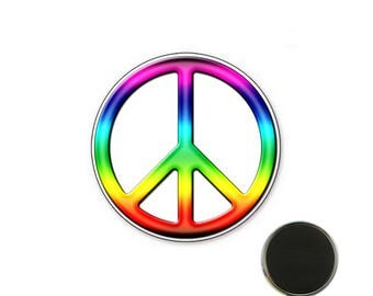 Magnet Peace and Love colourful - 25 mm Magnet