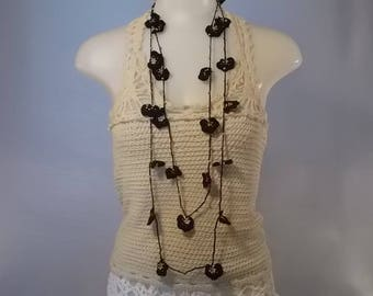 handmade crochet with beads necklace