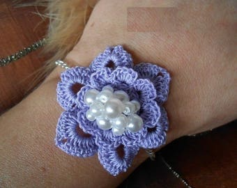 blue crochet fleur Bracelet