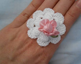 White flower crocheted with Pearl ring