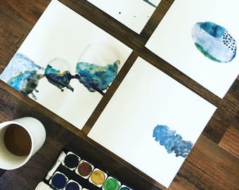 Abstract water color art: 4-piece set