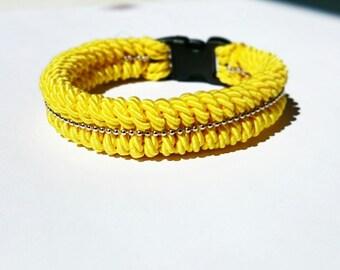 Satin yellow Paracord Cuff Bracelet