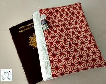 Passport red Asanoha pattern