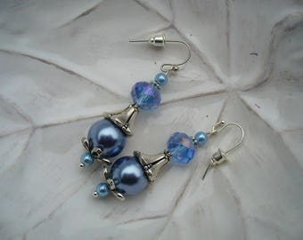 Earrings romantic blue and silver