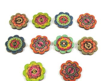 10 floral printed 19 mm, 2 holes wooden buttons