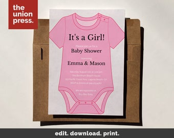 Onesie invitation etsy baby shower invitation template printable invitation its a girl onesie instant download diy pronofoot35fo Images