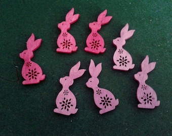 set of 7 wooden fuchsia and pink bunnies to decorate your table or customize