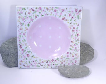 Birthstone girl plate, pink liberty