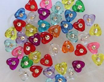 set of 10 heart shape beads