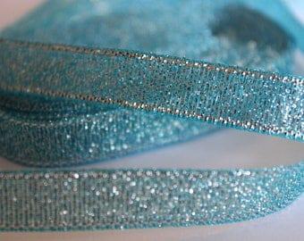 pretty silvery blue glittery Ribbon