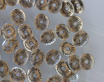 set of 10 metal washers beads silver