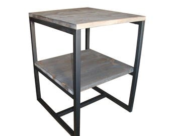 Grey wood style and end table steel industrial