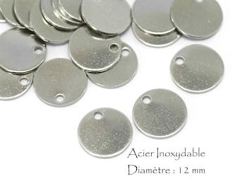10 Breloques Acier Inoxydable Sequins Ronds - Diamètre : 12 mm - Couleur Argent