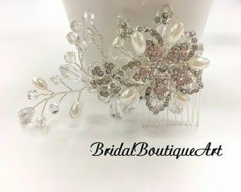 Flower hair comb,wedding hair comb,bridal hair accessories,Luxury hair piece