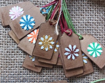Small Thank You Tags, Set of 12 Small Tags, Vintage Style Tags, Kraft paper Small Tags, Gift Tags