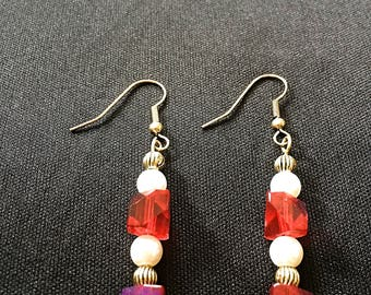 Red crystal and gold earrings