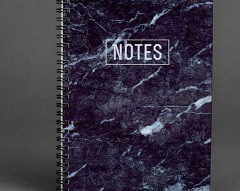 Black Marble Writing journal Notebook Marble Gift Notebook Spiral Notebook Marble Notebook A5 Notebook Sketchbook Stoned Notebook A4 Diary