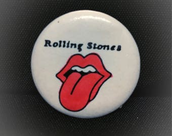 "Authentic Vintage The Rolling Stones ""Tongue"" pinback button 1.25"""