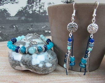 """Set bracelet and earrings natural stones """"Abyss"""""""